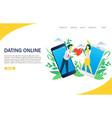 dating online website landing page design vector image vector image