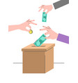donation crowdfunding concept with a cardboard box vector image vector image