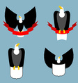 Eagle and red ribbon set Black bird predator Hawk vector image