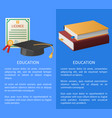 education licence books pile and academic hat vector image vector image