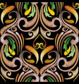 embroidery baroque seamless pattern colorful vector image