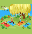 family yoga background vector image vector image