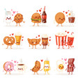 food kawaii cartoon expression characters vector image vector image