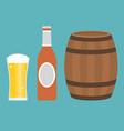 glass beer bottle and barrel vector image