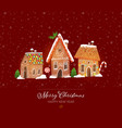greeting christmas card with cute gingerbread vector image vector image