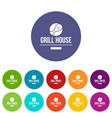 grill chicken icons set color vector image