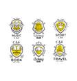 hobclub logo design set badges with heraldic vector image vector image