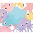 jellyfish crab shrimp fish starfish octopus life vector image vector image