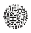 judaism religion symbols set of icons in circle vector image