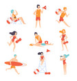 lifeguards on duty set male and female vector image vector image
