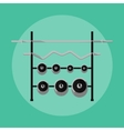 Metal barbells and weights on rack vector image vector image