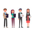 modern office people with tablets and documents vector image vector image