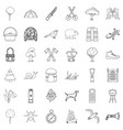mushroom icons set outline style vector image vector image