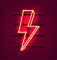 neon sign lightning signboard on red vector image vector image