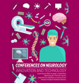 neurology medicine conference banner with doctor vector image vector image