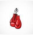 pair of red hand drawn boxers glovers on a string vector image