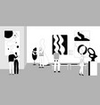 people watching exhibition contemporary vector image
