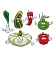 Pepper zucchini kohlrabi squash and onion vector image vector image