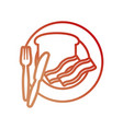 plate with bread an bacon vector image vector image