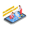 plumbing services isometric plumber online vector image