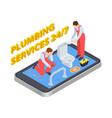plumbing services isometric plumber online vector image vector image