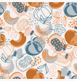 pumpkin fabric hand drawn seamless pattern vector image