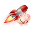 rocket piggy bank vector image vector image