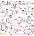 seamless pattern - cute set bear vector image vector image