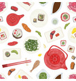 seamless pattern with sushi sashimi rolls on vector image