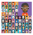 Set of people icons in flat style with faces 26 b vector image