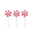 set red and white lollipops with rays patterns vector image