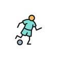 soccer player flat color icon isolated on white vector image