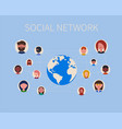 social network people icons and planet vector image
