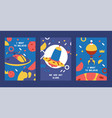 spaceships in cosmos with planets set posters vector image