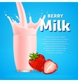 Strawberry sweet milkshake dessert cocktail vector image