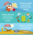 summer rest banner horizontal set flat style vector image vector image