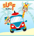 surfing time with cute animals cartoon vector image