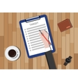 target checklist with clipboard and coffee wallet vector image vector image