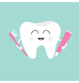 Tooth holding toothpaste and toothbrush Cute funny vector image vector image