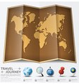 Travel And Journey World Map With Point Mark vector image vector image
