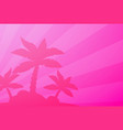 tropical landscape palm under clean pink vector image vector image