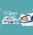 washing car station and happy customer vector image vector image