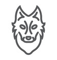 wolf line icon animal and zoo vector image vector image