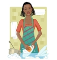 Young African American woman washing dishes vector image
