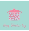 Pot with hearts Happy Valentines Day card Pink and vector image