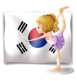 A ballet dancer in front of the South Korean flag vector image