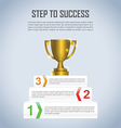 Step to success with winner trophy infographic vector image