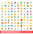 100 psychology icons set cartoon style vector image vector image