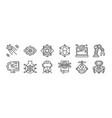 12 set linear robotics icons thin outline