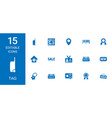 15 tag icons vector image vector image